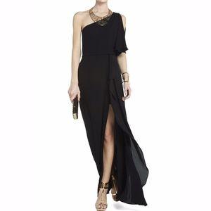 BCBG Kendal Black One Shoulder Ruffled Prom Dress